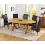 Ex-display Bordeaux 165cm Oak All Sides Extending Table with FOUR GREY Cannes Chairs