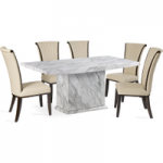 Calabro 180cm Marble-Effect Dining Table with Alpine Leather Chairs