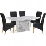 Calabro 160cm Marble-Effect Dining Table with Cannes Chairs