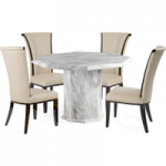 Calabro Octagonal Marble-Effect Dining Table with Alpine Chairs
