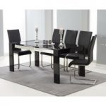 Cannes 180cm Black High Gloss Dining Table with Malaga Chairs