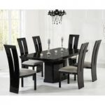 Carvelle 200cm Black Pedestal Marble Dining Table with Verbier Chairs