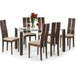 Kayman 150cm Walnut and Glass Dining Table and Chairs