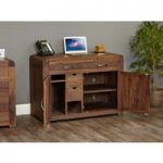 Nishio Solid Walnut Hidden Home Office Desk