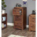 Nishio Solid Walnut Three Drawer Filing Cabinet