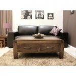 Nishio Solid Walnut 4 Drawer Coffee Table