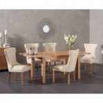 Cheadle 130cm Oak Extending Dining Table with Camille Fabric Chairs