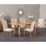 Cheadle 120cm Oak Extending Dining Table with Claudia Fabric Chairs