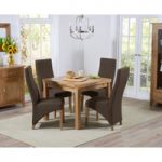 Cheadle 90cm Oak Extending Dining Table with Henley Fabric Dining Chairs