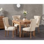 Cheadle 90cm Oak Extending Dining Table with Camille Fabric Chairs