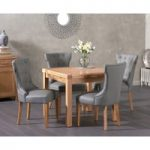 Cheadle 90cm Oak Extending Dining Table with Camille Faux Leather Chairs