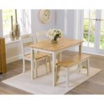 Chiltern 115cm Oak and Cream Dining Table with Bench and Chairs