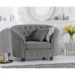 Chloe Chesterfield Grey Fabric Armchair