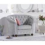 Chloe Chesterfield Grey Plush Fabric Armchair