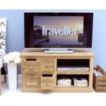 Rhone Solid Oak 4 Drawer Television Cabinet