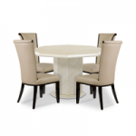 Cenadi Octagonal Marble-Effect Dining Table with Alpine Chairs