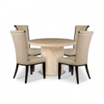 Cenadi Round Marble-Effect Dining Table with Alpine Chairs
