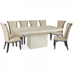 Cenadi 220cm Marble-Effect Dining Table with Alpine Chairs