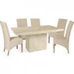 Cenadi 160cm Marble-Effect Dining Table with Cannes Leather Chairs