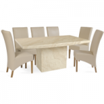 Cenadi 220cm Marble-Effect Dining Table with Cannes Chairs