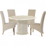 Cenadi Octagonal Marble-Effect Dining Table with Cannes Chairs