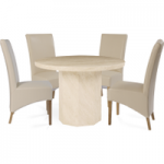 Cenadi Round Marble-Effect Dining Table with Cannes Chairs