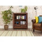 Cordoba Solid Walnut 2 Drawer Low Bookcase