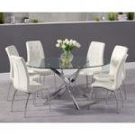Denver 165cm Oval Glass Dining Table with Calgary Chairs