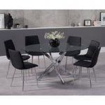 Denver 165cm Oval Glass Dining Table with Helsinki Fabric Chairs