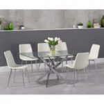 Denver 160cm Glass Dining Table with Helsinki Faux Leather Chairs