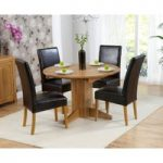 Dorchester 120cm Solid Oak Round Extending Dining Table with Normandy Chairs
