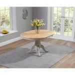 Ex-Display Epsom Oak and Grey Pedestal Extending Dining Table