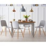 Eton 130cm Grey Solid Pine and Ash Table with Nordic Wooden Leg Grey Chairs