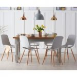 Eton 150cm Grey Solid Pine and Ash Table with Nordic Wooden Leg Grey Chairs
