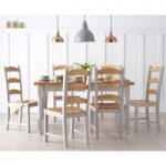 Eton 150cm Grey Solid Pine and Ash Kitchen Table with Eton Chairs