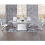 Hailey 160cm White High Gloss Extending Dining Table with Hampstead Z Chairs