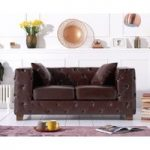 Harper Chesterfield Brown Leather Two-Seater Sofa