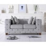 Harper Chesterfield Grey Plush Fabric Two-Seater Sofa
