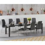 Joseph Extending Dark Grey High Gloss Dining Table with Calgary Chairs