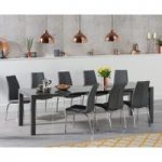 Joseph Extending Dark Grey High Gloss Dining Table with Cavello Chairs