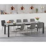 Joseph Extending Dark Grey High Gloss Dining Table with Helsinki Fabric Chrome Chairs