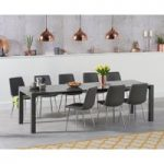 Joseph Extending Dark Grey High Gloss Dining Table with Helsinki Faux Leather Chairs