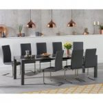 Joseph Extending Dark Grey High Gloss Dining Table with Malaga Chairs
