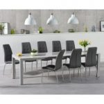 Joseph Extending Light Grey High Gloss Dining Table with Calgary Chairs