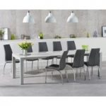 Joseph Extending Light Grey High Gloss Dining Table with Cavello Chairs
