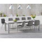 Joseph Extending Light Grey High Gloss Dining Table with Helsinki Fabric Chrome Chairs