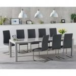 Joseph Extending Light Grey High Gloss Dining Table with Malaga Chairs