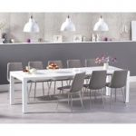 Joseph Extending White High Gloss Dining Table with Helsinki Fabric Chrome Chairs