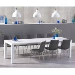 Joseph Extending White High Gloss Dining Table with Helsinki Faux Leather Chairs