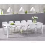 Joseph Extending White High Gloss Dining Table with Nordic Chrome Leg Chairs